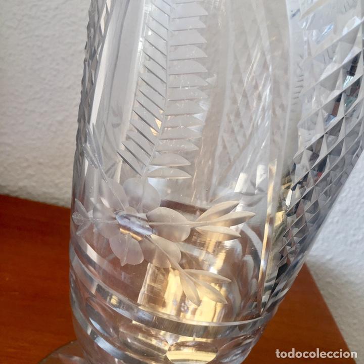 Antigüedades: Antiguo jarrón cristal de Cartagena tallado 44cm. Circa 1950 - Foto 4 - 138941181