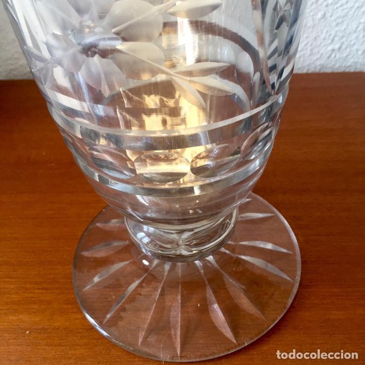 Antigüedades: Antiguo jarrón cristal de Cartagena tallado 44cm. Circa 1950 - Foto 7 - 138941181