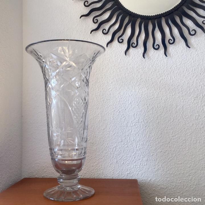 Antigüedades: Antiguo jarrón cristal de Cartagena tallado 44cm. Circa 1950 - Foto 13 - 138941181