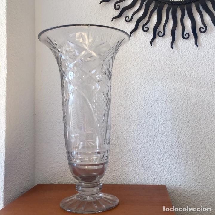 Antigüedades: Antiguo jarrón cristal de Cartagena tallado 44cm. Circa 1950 - Foto 14 - 138941181