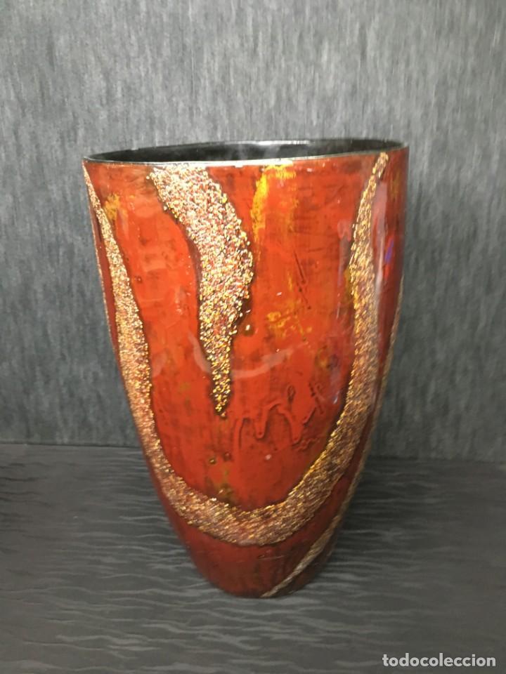 Antigüedades: adorno jarrón madera lacada con reflejos muy bonito - Foto 2 - 139041026