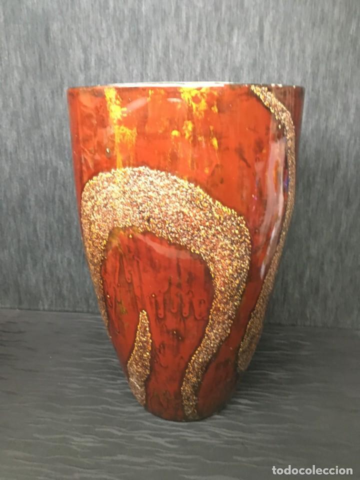 Antigüedades: adorno jarrón madera lacada con reflejos muy bonito - Foto 3 - 139041026