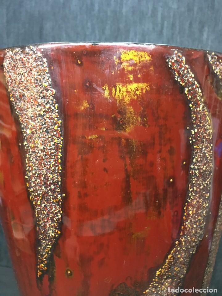 Antigüedades: adorno jarrón madera lacada con reflejos muy bonito - Foto 5 - 139041026
