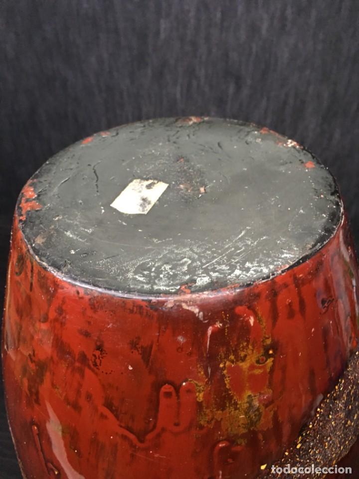 Antigüedades: adorno jarrón madera lacada con reflejos muy bonito - Foto 7 - 139041026