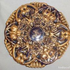 Antigüedades: PLATO AZUL COBALTO Y DORADO . Lote 139066454