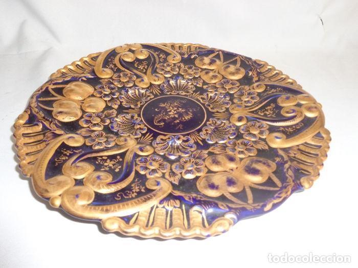 Antigüedades: Plato Azul Cobalto y Dorado - Foto 2 - 139066454