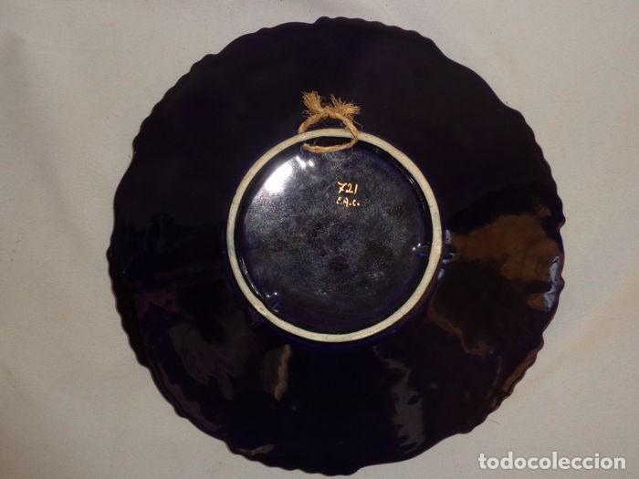Antigüedades: Plato Azul Cobalto y Dorado - Foto 5 - 139066454