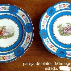 Antigüedades: PAREJA DE PLATOS DE LIMOGES. Lote 139067866