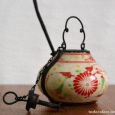 Antigüedades - ANTIGUA PIPA CHINA DE OPIO * PORCELANA Y METAL * PIPA DE AGUA * - 139086854