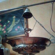 Antigüedades: ANTIGUA LAMPARA VOTIVA SELLADA EN ALPACA SIGLO XIX.. Lote 139102514