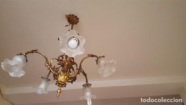 Antigüedades: Lampara 5 tulipas en bronce dorado - Foto 3 - 139129590