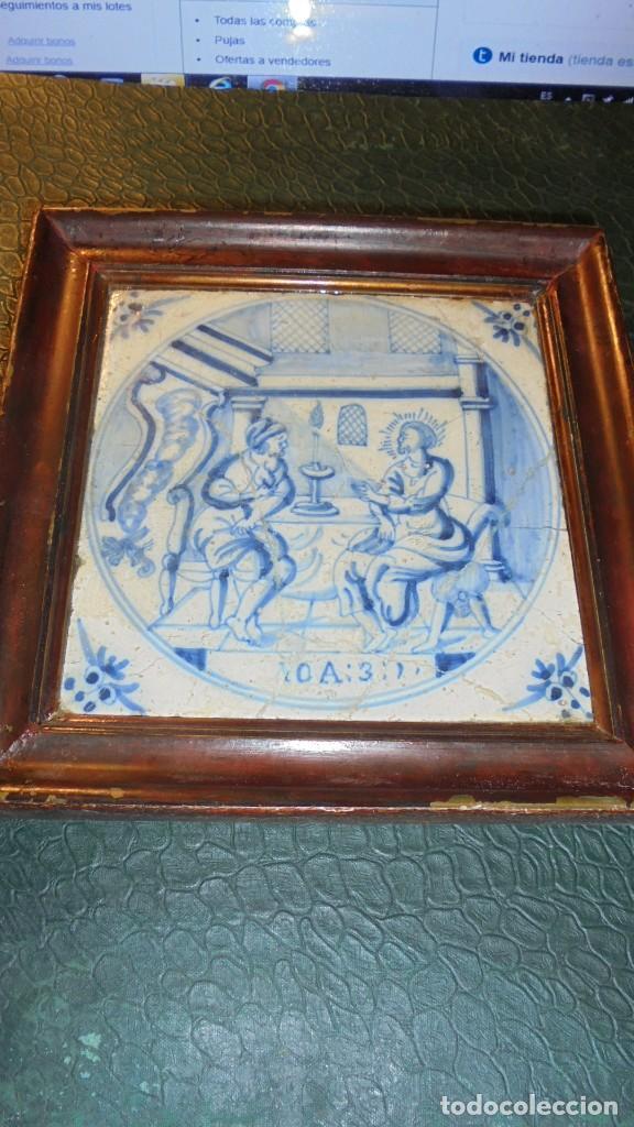 ANTIGUO AZULEJO DE DELFT S.XVIII - IOA . 3 - 13X13 CM. VER FOTOGRAFIA FIFERENTES ROTURAS PEGADO Y RE (Antigüedades - Porcelana y Cerámica - Holandesa - Delft)