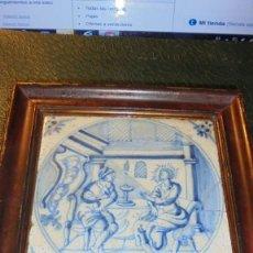 Antigüedades: ANTIGUO AZULEJO DE DELFT S.XVIII - IOA . 3 - 13X13 CM. VER FOTOGRAFIA FIFERENTES ROTURAS PEGADO Y RE. Lote 139154278