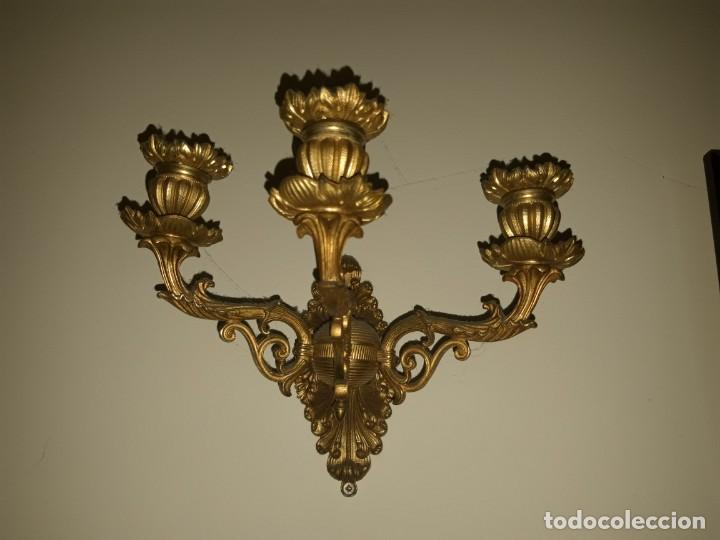 PAREJA APLIQUES BRONCE DORADO (Antigüedades - Iluminación - Apliques Antiguos)