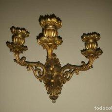 Antigüedades: PAREJA APLIQUES BRONCE DORADO. Lote 139183074