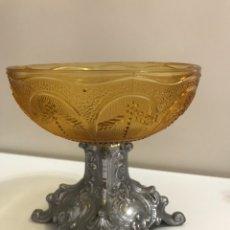 Antigüedades: ANTIGUO CÁLIZ DE CRISTAL Y METAL PLATEADO. Lote 139183568