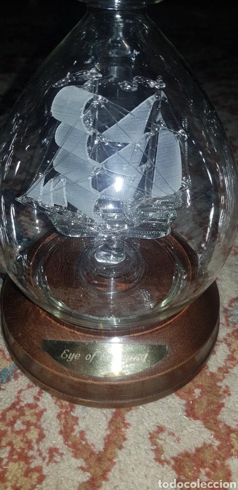 Antigüedades: Botella en cristal soplado con barco dentro - Foto 2 - 139215693