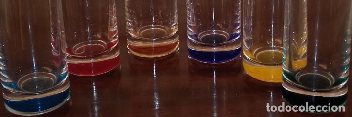 JUEGO 6 VASOS DE LICOR. CHUPITOS. CRISTAL DE BOHEMIA. SERIE RAINBOW. SIGLO XX. (Antigüedades - Cristal y Vidrio - Bohemia)