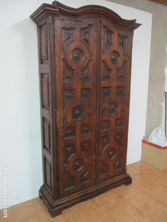 Antigüedades: Antiguo Armario Rústico - Alacena - Mueble Español - Madera de Roble - S. XVII - Foto 19 - 139262390