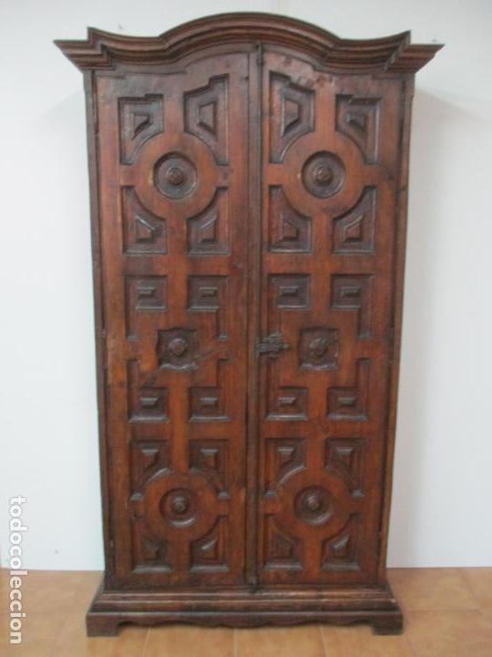 Antigüedades: Antiguo Armario Rústico - Alacena - Mueble Español - Madera de Roble - S. XVII - Foto 37 - 139262390
