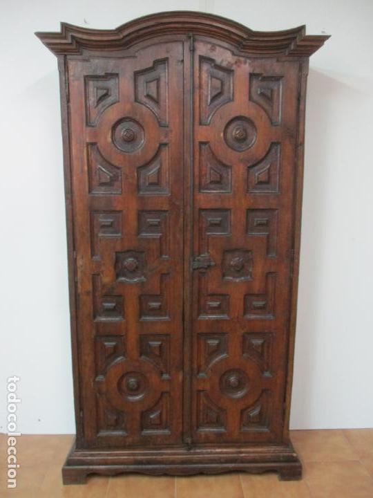 Antigüedades: Antiguo Armario Rústico - Alacena - Mueble Español - Madera de Roble - S. XVII - Foto 39 - 139262390
