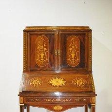 Antigüedades: ESCRITORIO ANTIGUO DE MADERA Y MARQUETERÍA. Lote 139302478