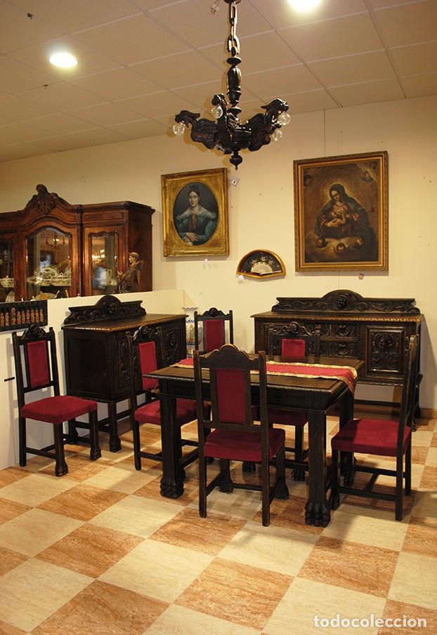 COMEDOR ANTIGUO TALLADO ESTILO RENACIMIENTO ESPAÑOL (Antigüedades - Muebles Antiguos - Aparadores Antiguos)