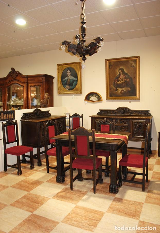 Antigüedades: COMEDOR ANTIGUO TALLADO ESTILO RENACIMIENTO ESPAÑOL - Foto 2 - 139304714