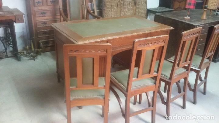 Antigüedades: Mesa de despacho con juego de sillas y sillón - Foto 6 - 139326794