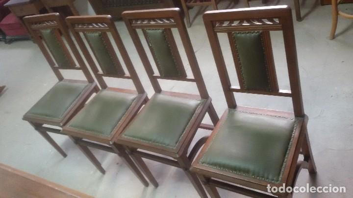 Antigüedades: Mesa de despacho con juego de sillas y sillón - Foto 7 - 139326794