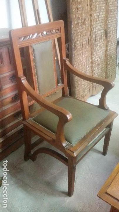 Antigüedades: Mesa de despacho con juego de sillas y sillón - Foto 9 - 139326794