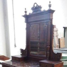 Antigüedades: TOCADOR CON ESPEJO DE MADERA DE NOGAL.. Lote 139330838