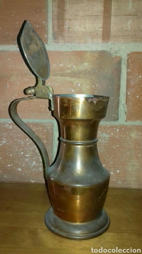 Antigüedades: Jarra suiza, antigua. 1936. Estaño y cobre, fue un trofeo de concurso de belleza canina. - Foto 2 - 139361194