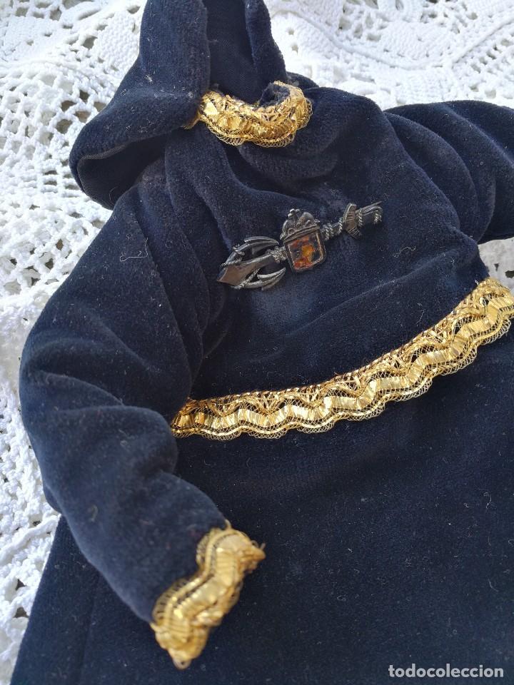 Antigüedades: ANTIGUA SAYA ROPA PARA IMAGEN DE 32CM. VIRGEN DOLOROSA CAP I POTA- HILO DE ORO.- S.XIX. - Foto 7 - 139363846