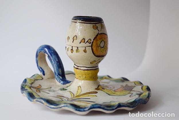 PALMATORIA DE TALAVERA, SIGLO XIX - Ø 12 CM, ALTO 8 CM (Antigüedades - Porcelanas y Cerámicas - Talavera)
