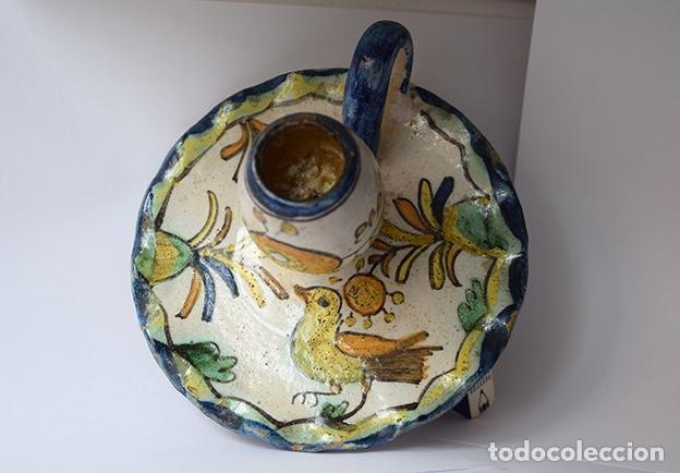Antigüedades: Palmatoria de Talavera, siglo XIX - ø 12 cm, alto 8 cm - Foto 3 - 139365038