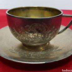 Antigüedades: TAZA Y PLATO DE LOS AÑOS 20 DE PLATA DE VACHIER 92 GRAMOS. Lote 139392552