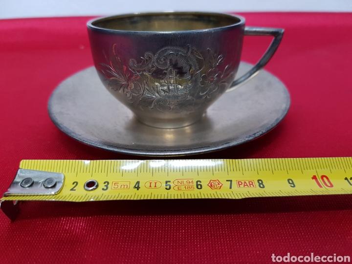 Antigüedades: Taza y plato de los años 20 de plata de Vachier 92 gramos - Foto 2 - 139392552