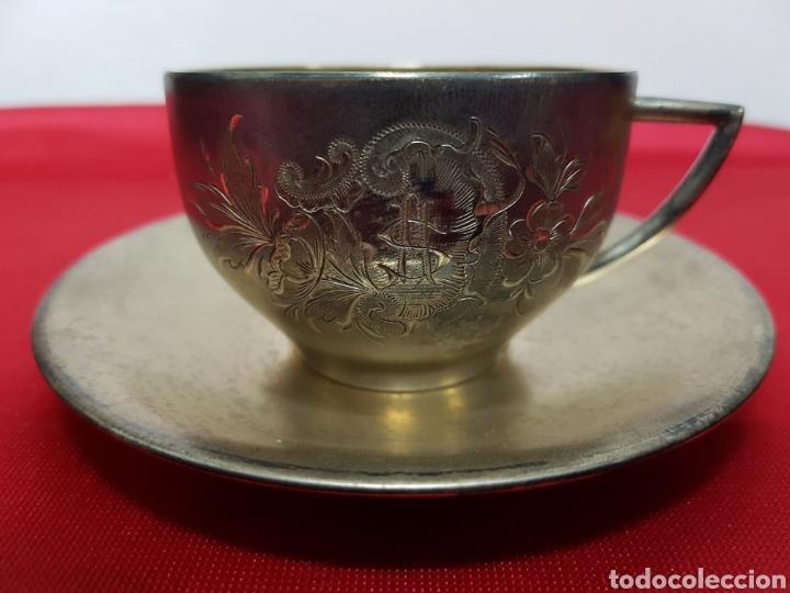 Antigüedades: Taza y plato de los años 20 de plata de Vachier 92 gramos - Foto 3 - 139392552