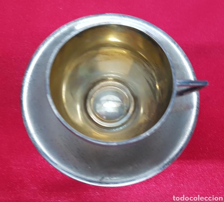 Antigüedades: Taza y plato de los años 20 de plata de Vachier 92 gramos - Foto 4 - 139392552