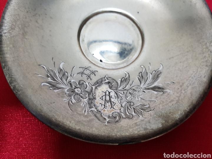Antigüedades: Taza y plato de los años 20 de plata de Vachier 92 gramos - Foto 5 - 139392552