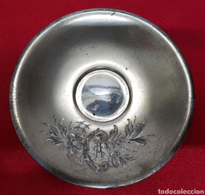 Antigüedades: Taza y plato de los años 20 de plata de Vachier 92 gramos - Foto 6 - 139392552