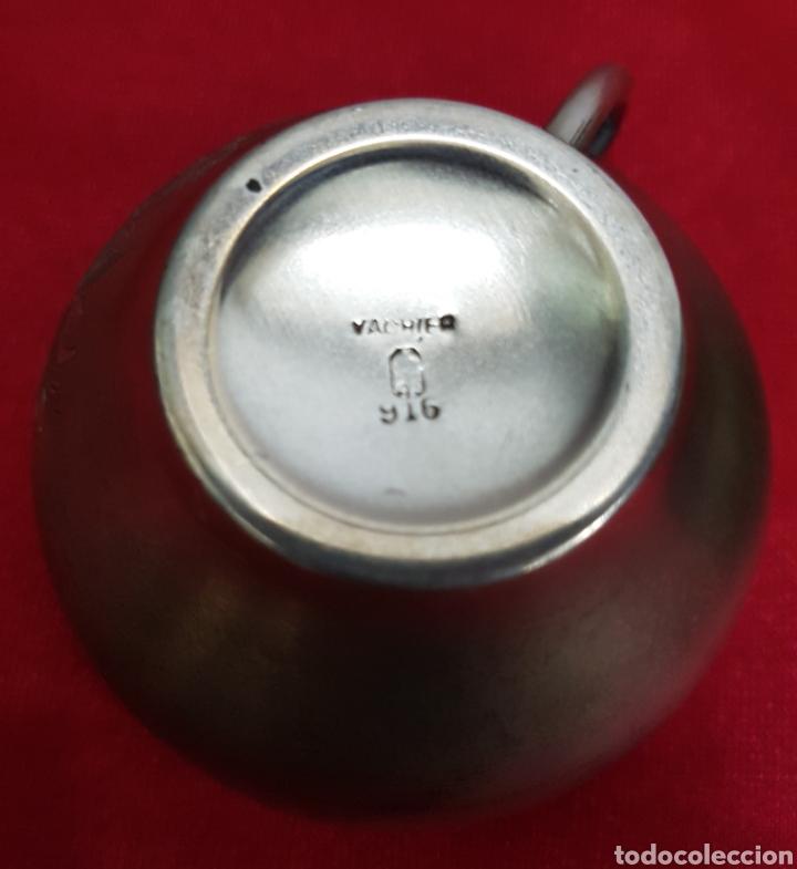 Antigüedades: Taza y plato de los años 20 de plata de Vachier 92 gramos - Foto 8 - 139392552