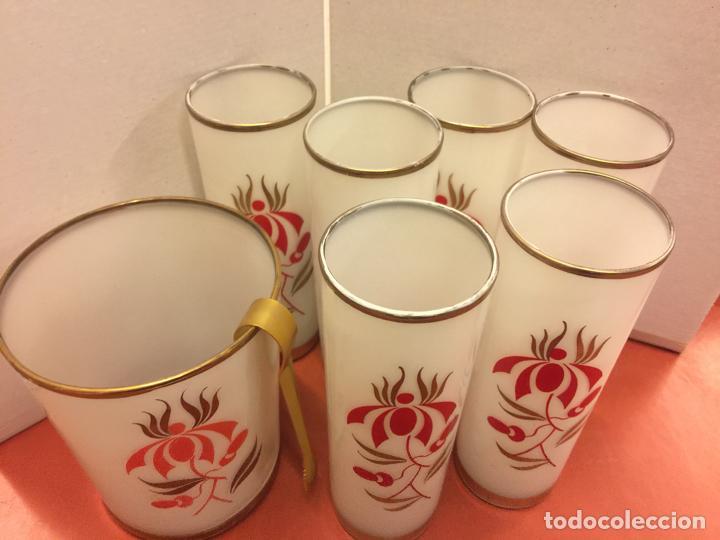 Antigüedades: Encantador juego de 6 vasos tubo + cubitera Vintage, inspiracion Tiki. Impecables - Foto 2 - 139418758