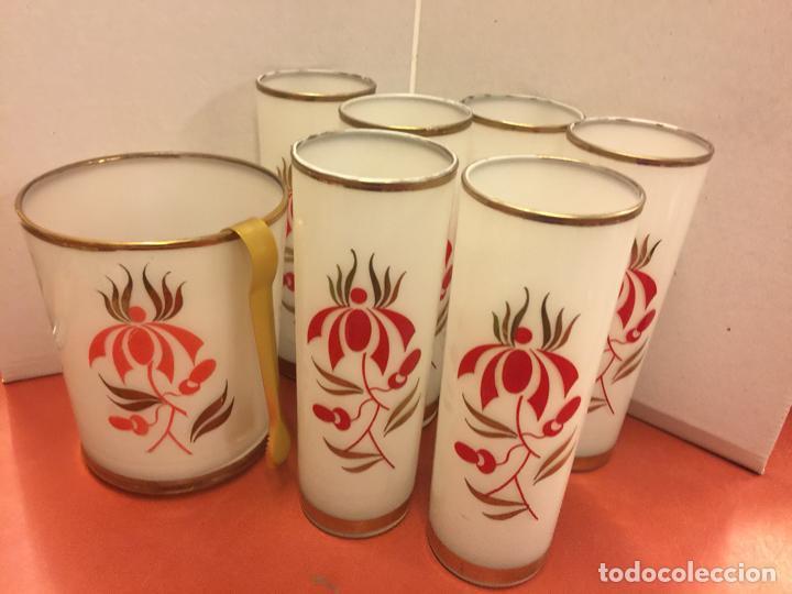 Antigüedades: Encantador juego de 6 vasos tubo + cubitera Vintage, inspiracion Tiki. Impecables - Foto 3 - 139418758
