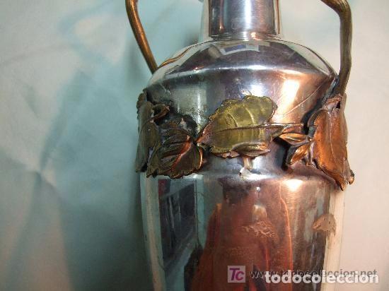 Antigüedades: JARRON MODERNISTA EN BRONCE PLATEADO Y ADORNOS DE CALAMINA DORADA - Foto 4 - 139443006