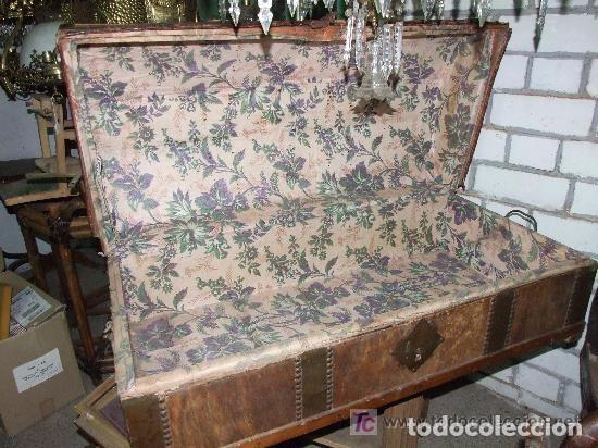 Antigüedades: BAUL MADERA Y PIEL - Foto 3 - 139455214