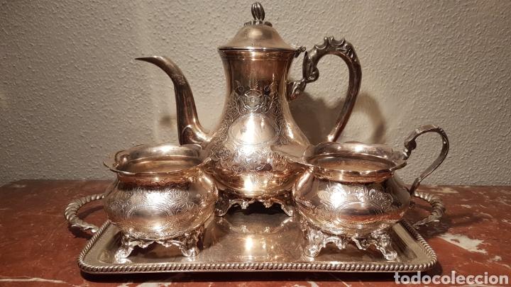 JUEGO DE CAFE DE ALPACA / METAL PLATEADO. (Antigüedades - Platería - Bañado en Plata Antiguo)