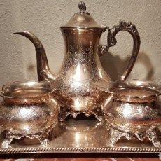 Antigüedades: JUEGO DE CAFE DE ALPACA / METAL PLATEADO.. Lote 139483313