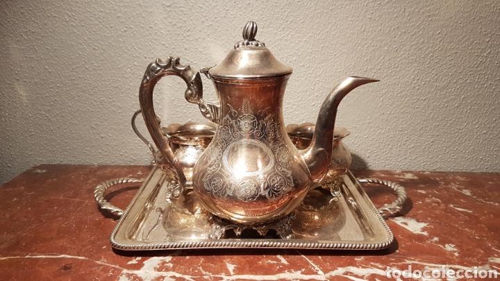 Antigüedades: JUEGO DE CAFE DE ALPACA / METAL PLATEADO. - Foto 7 - 139483313